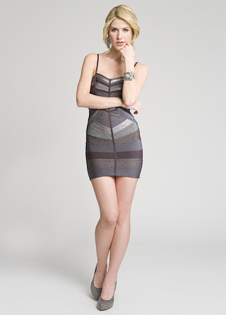 Herve Leger Metallic Striped Bandage Dress