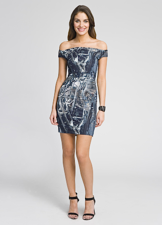 Helmut Lang Off Shoulder Foil Print Dress