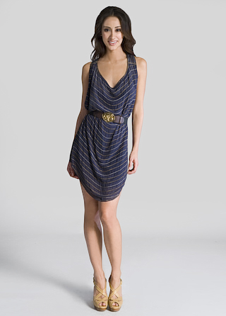 Gryphon Metal Chain Striped Dress