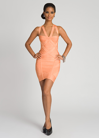 Herve Leger Papaya Bandage Dress
