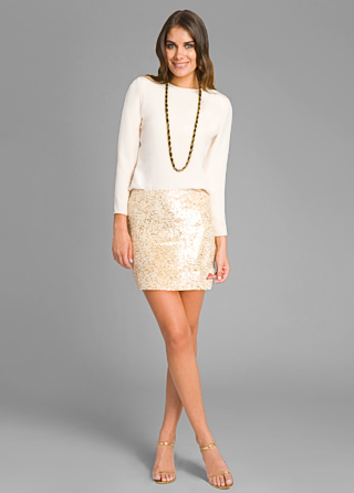 Haute Hippie Glam Nude Sequin Skirt