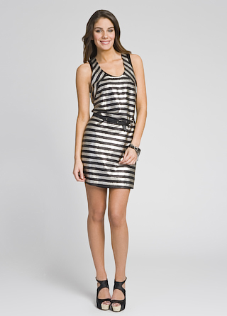 Robert Rodriguez Metallica Stripe Dress