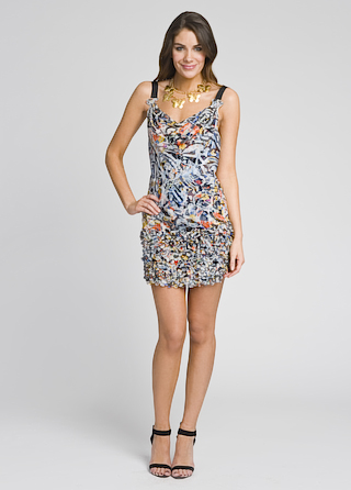 Catherine Malandrino Floral Feather Bottom Dress